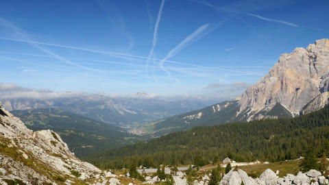 4k UHD pan over dolomite alps valley 11530 Footage