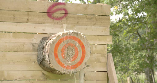 An axe throwing contest happening Live Action