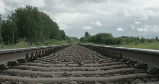 Black Railway Track Of A Train With Big Stones Ins stock footage