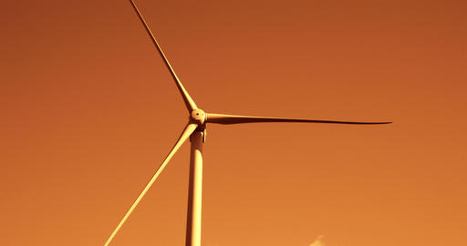 Close up of the three-bladed windmill with the red Footage