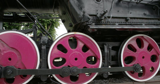 The parts of the wheels of the locomotive train FS Footage