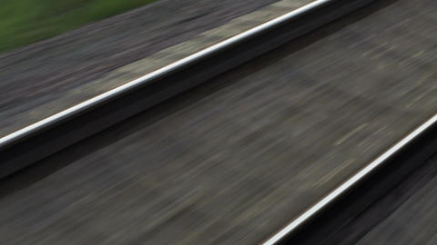 Passing By Empty Railway On High Speed Footage