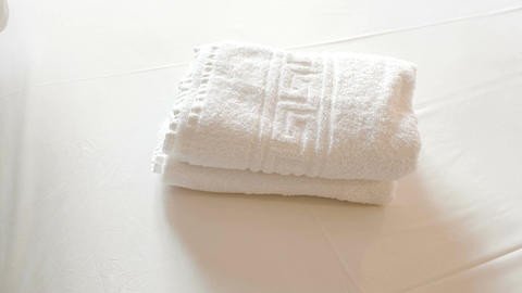 Clean Towels With Olive Branches On Bed Footage