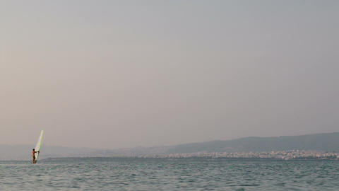 Windsurfer Sailing In Quiet Sea Footage
