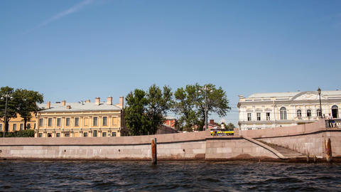 Timelapse Of Traveling On Neva River stock footage