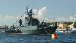 Military Ship On Neva River, St. Petersburg Footage