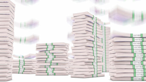 500 Euro bundles stacks falling down. Wealth and money Stock Video Footage