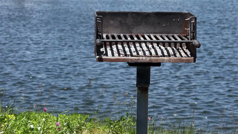 Barbecue near water Stock Video Footage