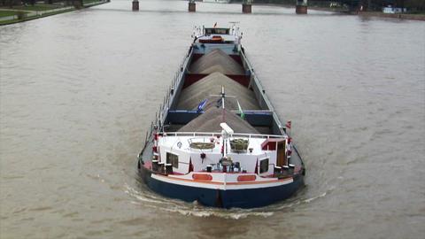 barge boat scow main river fankfurt skyline Stock Video Footage