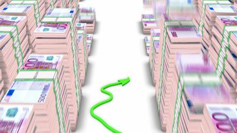 Loopable Green graph moving up between falling 500 euro bundles Animation