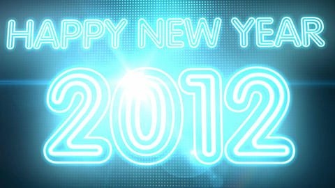 Happy New Year 2012 Neon HD Stock Video Footage