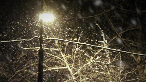 Night snowfall Footage