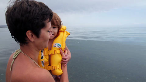 First swimming lesson Stock Video Footage