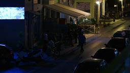 Narrow Street In Greece At Night Footage