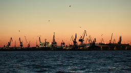 Dock with cranes in the evening Footage