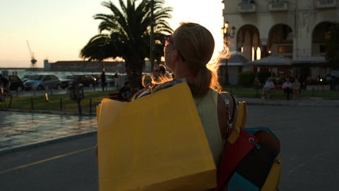 Woman Being Happy After Nice Shopping stock footage
