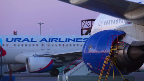 Morning At Airport stock footage