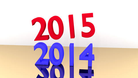 "Blue writing ""2014"" is smashed by a falling 2015 Animation"