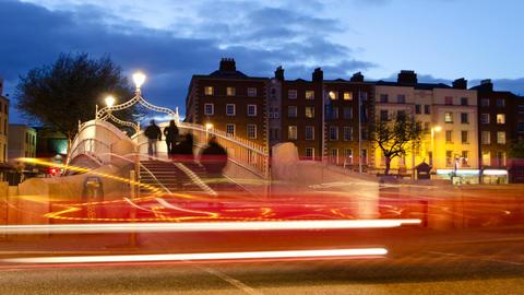 Historical Bridge At Night Footage