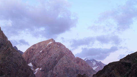 Clouds over mountains. Zoom. Time Lapse. Pamir, Ta Footage