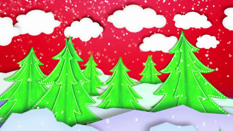 Winter Landscape Paper Scene Loop Animation Red -  Animation