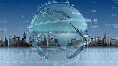 Business Background With Rotating Planet, Loop Ani stock footage