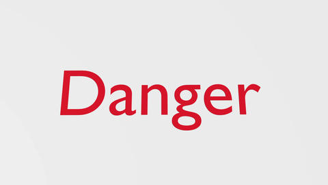 """Wooden Stamp Printing the Word """"Danger"""" Animation"""
