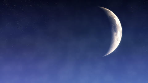 Cloudy Crescent Moon Loop Stock Video Footage