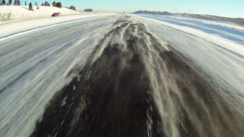 Driving On A Windy Winter Highway 1 stock footage