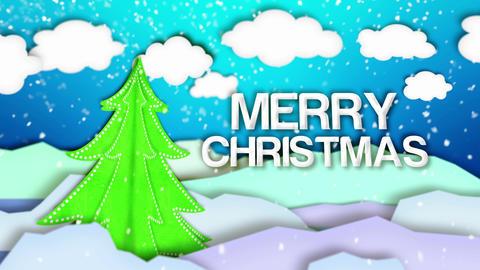 Merry Christmas Winter Landscape Paper Scene Loop  stock footage