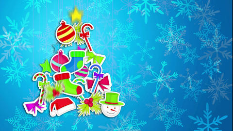 Tree Christmas Made By Ornament Art Paper Blue Bac Animation