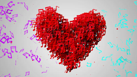 Red Love Musical Note Particles Loop Animation - 4 Animation