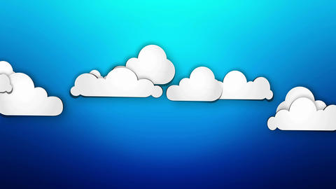 Cartoon Paper Clouds On Blue Background Loop Anima stock footage