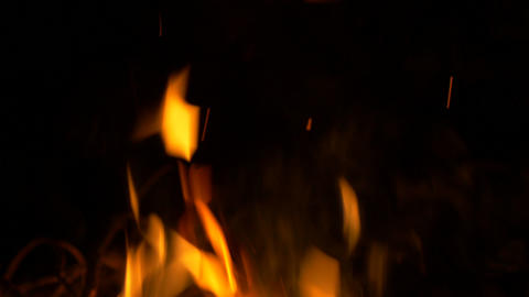 4K UHD Stock Footage Bonfire Flames Close Up at Ni Footage