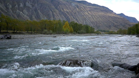 Slow Motion Stock Footage of Mountain River in Aut Footage