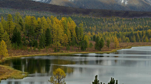 Stock Footage Mountain Lake and Snowy Peaks in Aut Footage