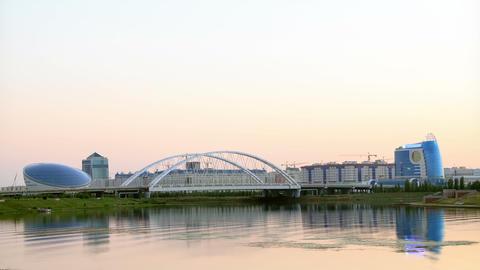 Sunset over the river. Astana, Kazakhstan Footage