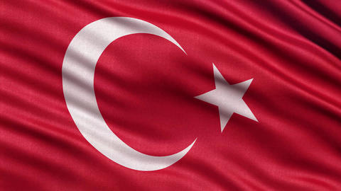 4K Flag of Turkey seamless loop Ultra-HD Animation