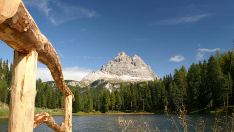 4k UHD fence mountain lake and tre cime de 11533 Footage