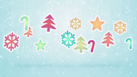 hanging christmas decoration and snowfall loopable Animation