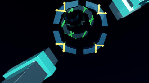 Futuristic geometric pulsating fragmented rings Animation