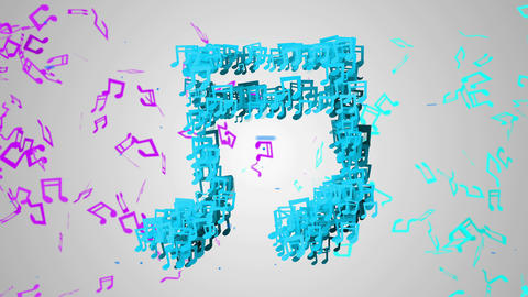 Blue Musical Note Particles Loop Animation - 4K Re Animation