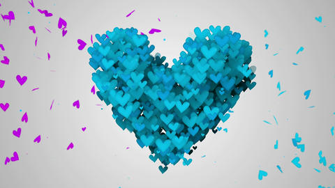 Blue Love Particles Heart Shape 3D Loop Animation Animation
