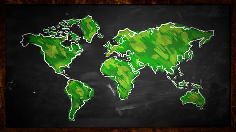 World Sketch Green Painting Looping Animation - 4K stock footage