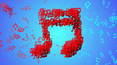 Red Musical Note Particles Blue Background Loop An stock footage