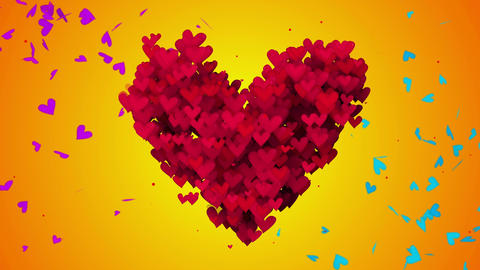 Red Love Particles Heart Shape 3D orange Seamless  Animation