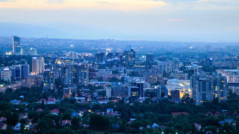 Night over the city. Panorama. Almaty, Kazakhstan. Footage
