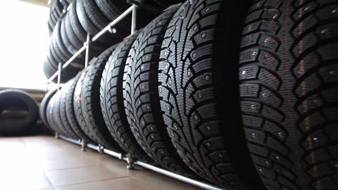 Tires for wheels in the auto parts store Footage