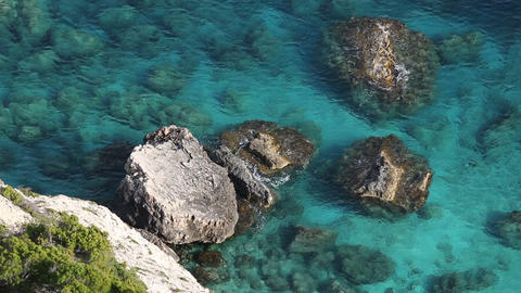 Rocky shore of Mediterranean sea in Greece Live Action