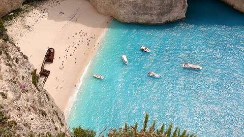 Blazing Sunny Sea And A Cove Beach stock footage